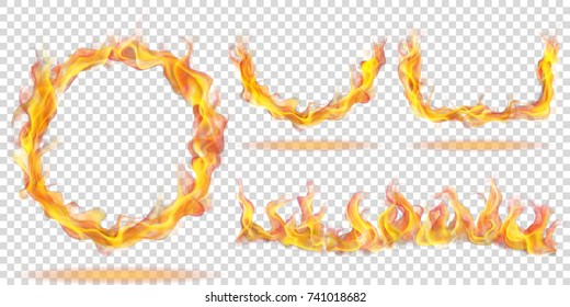 Set Of Fire Flames In The Form Ring Arc And Wave On Transparent Background