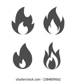 Set of Fire flames icon vector