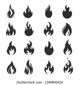 Set of fire flames isolated on white. Vector illustration.
