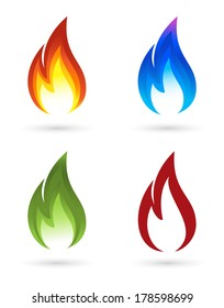 Set of fire icons