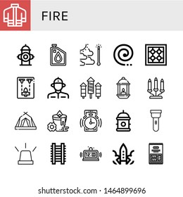 Set of fire icons such as Firefighter uniform, Fire hydrant, Oil, Global warming, Mosquito coil, Stove, Spaceship, Firefighter, Rocket, Lantern, Candelabra, Tent, Candle , fire