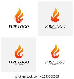 Set of Fire Logo Design Concepts. Flame Logo Template Vector. Icon Symbol