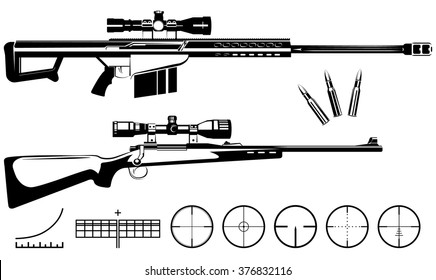 Set of firearms sniper rifles and targets