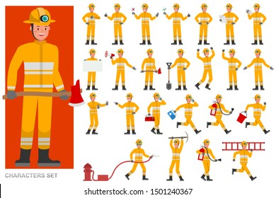 Set of Firefighter character vector design. Presentation in various action with emotions, running, standing and walking.