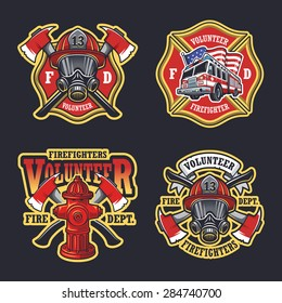 Set of firefighter emblems, labels, badges and logos on dark background.