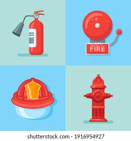 Set of firefighter or fire emergency flat style icons. Vector illustration.