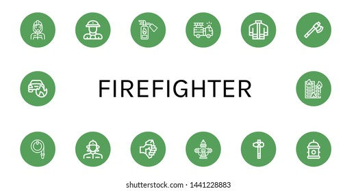 Set of firefighter icons such as Firefighter, Fireman, Fire extinguisher, Fire truck, Firefighter uniform, Axe, Water hose, Firewoman, Hydrant, Car on fire, Building on ,