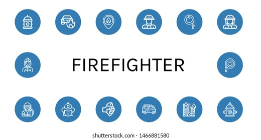 Set of firefighter icons such as Hydrant, Car on fire, Firefighter, Fireman, Water hose, Firewoman, Axe, Fire truck, Building on fire, hydrant , firefighter