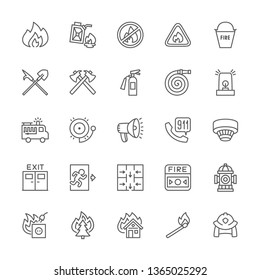 Set of Firefighter Line Icons. Fireman, Fire Truck, Pipeline Firehose Gear, Emergency Siren, Megaphone, Alarm System, Evacuation Plan, Hydrant and more. Pack of 48x48 Pixel Icons
