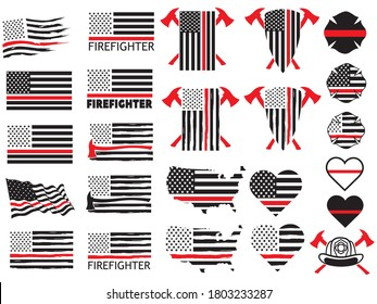 Set of firefighters red thin lines. Collection of firefighters national flag badges. Fire brigade emblems. Vector illustration of red line on US flag.
