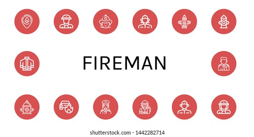 Set of fireman icons such as Firefighter, Fireman, Firewoman, Hydrant, Fire hydrant, Car on fire, Pilot, Firefighter uniform , fireman