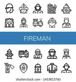 Set of fireman icons such as Firefighter, Fire station, Firewoman, Fire truck, Building on fire, hydrant, Pilot, extinguisher, Fireman, Hydrant, Firefighter uniform , fireman