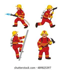 Set of firemans vector illustration.