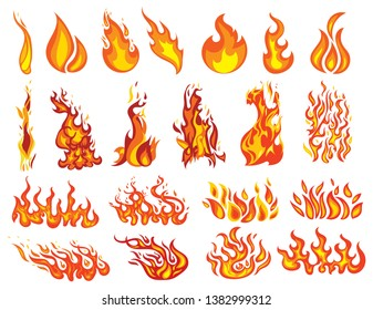 Set of fires. Collection of fire walls. Illustration of a burning strip. Flame drawing. Flaming wall. Vector illustration of a fire.
