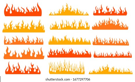 Set of fires. Collection of fire walls. Illustration of a burning strip. Flame drawing. Flaming wall. Vector illustration on white background.