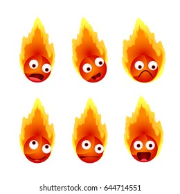 Set of fire's face emotions, vector illustration
