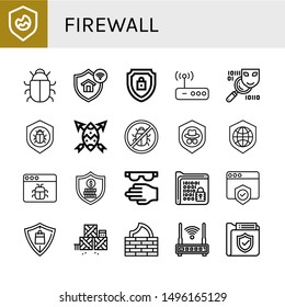 Set of firewall icons such as Shield, Antivirus, Protection, Encrypted, Router, Spyware, Malware, Security, Protective, Encrypt, Defense, Firewall , firewall