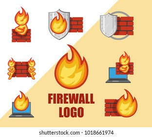Set of Firewall logo. Protection logo.Cyber security emblem. Network protection. Internet project. Logo icon design