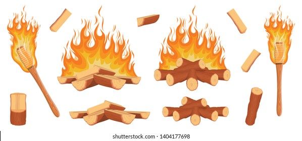 Set of firewood logs. Firewood logs in fire. Campfire set. Wooden torch with a burning fire. Wood logs and planks. Vector graphics to design