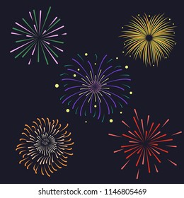 Set of Firework brusting with colorful sparkling Vector illustration