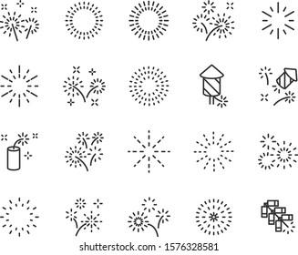 set of firework icons, celebration, party, happy new year