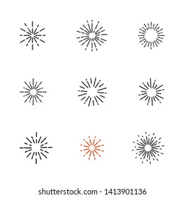 Set of firework line icons.