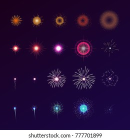 Set of fireworks bursting in sky. Collection of festive bright colored flashing lights. Bundle of celebratory design elements isolated on dark background. Colorful vector illustration for animation.
