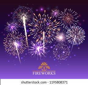 Set of fireworks, festive banner, invitation to a holiday. Vector illustration