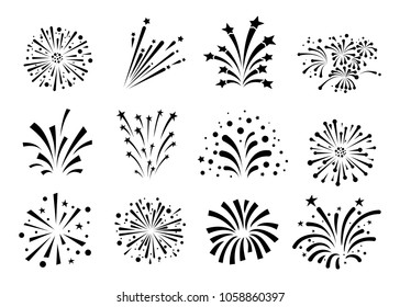 Set of a fireworks icon. Vector illustration. Isolated on white background