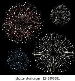 Set of fireworks, part 2, vector illustration