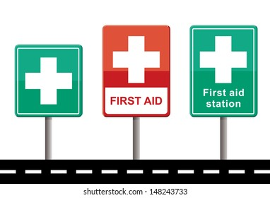 set of first aid signs