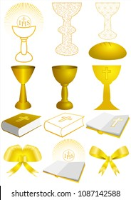 Set of First Communion elements and symbols