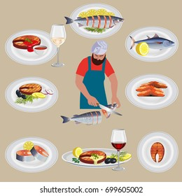 Set of fish dishes with chef. Vector illustration
