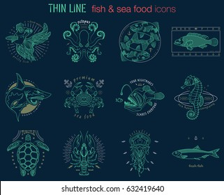 Set of fish icons. Abstract graphic design logo, badge, label, sticker. Vector stock illustration.