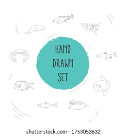 Set of fish icons line style symbols with seafood, herring, moon fish and other icons for your web mobile app logo design.