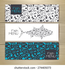 Set of fish seafood banners. Document template