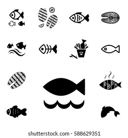 Set of Fish Vector Icon Isolated. Fishing or Seafood Template for Logo Design