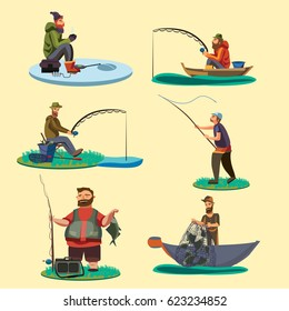 Set of fisherman catches fish sitting on boat and off shore,fisher threw fishing rod into water, happy fishman holds catch and spin, man pulls net out of the river on ice icon vector illustration