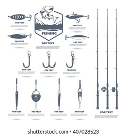 set for the fisherman. hooks, rods, floats