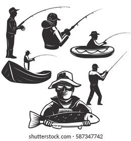 Set of fisherman silhouettes. Fishing icons. Design element for logo, label, emblem, sign. Vector illustration.