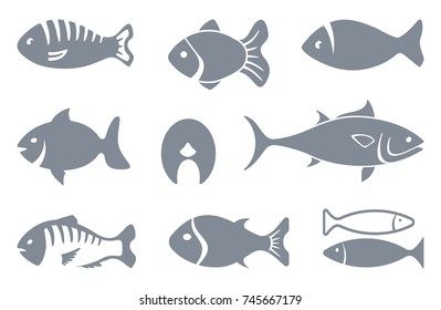 Set of fishes silhouettes. Vector flat illustration
