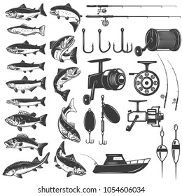 Set of fishing icons. Fish icons, fishing rods. Design element for logo, label, emblem, sign. Vector illustration