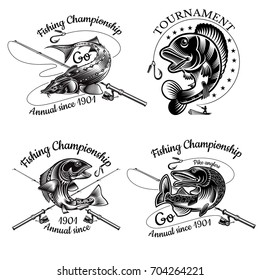 Set of fishing labels with Pike Sturgeon Salmon Perch fish bend with crossed fishing rod in engraving style. Logo for fishing, championship and sport club on white