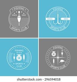 Set. Fishing. Logo and design element