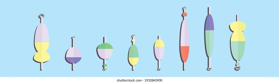 set of fishing lure cartoon icon design template with various models. modern vector illustration isolated on blue background