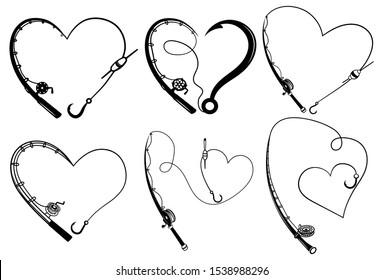 Set of fishing rods in the shape of a heart. Collection of fishing with love.Favorite hobby for people. Black and white illustration for a store.