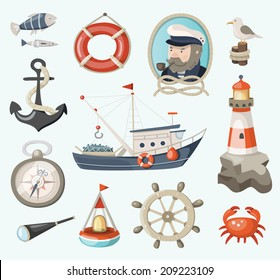 Set of fishing and sea items
