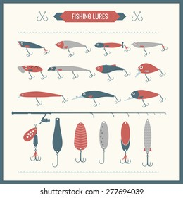 Set. Fishing tackle. Fishing rod, fishing reel, hooks. Vector elements, eps 10. Icons and illustrations for design, website, infographic, poster, advertising.
