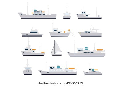 Set of fishing vessels and cruise