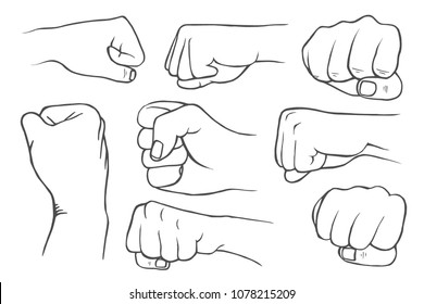 Set of fists in vintage style isolated on white background. Vector illustration.